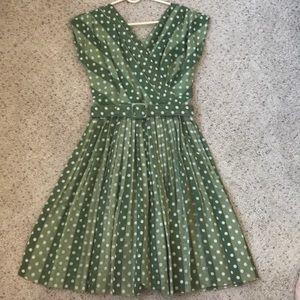Vintage dress green polka dot pleated belt small 6